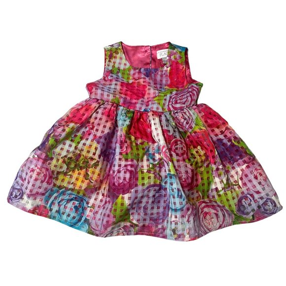 NWT The Children's Place Colorful Ruffle Rose Dres